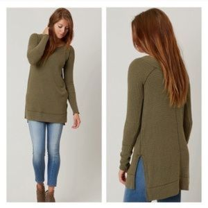 FREE PEOPLE Kate Thermal Tunic Top Olive Green XS